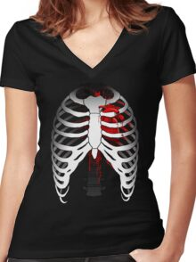 Love hurts... (Ribcage with heart) Women's Fitted V-Neck T-Shirt