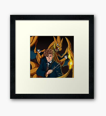 Newt Scamander - Wizard and Charizard Trainer Framed Print