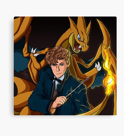 Newt Scamander - Wizard and Charizard Trainer Canvas Print