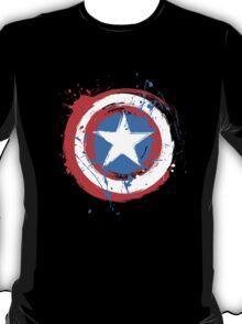 Captain America Shield Paint Splatter Design T-Shirt
