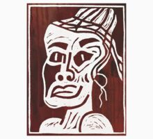 African Linocut Red One Piece - Long Sleeve