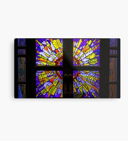 Square Stained Glass Door Windows Metal Print