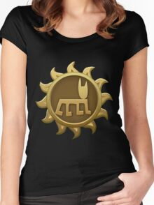 Glitch Giants emblem humbaba Women's Fitted Scoop T-Shirt