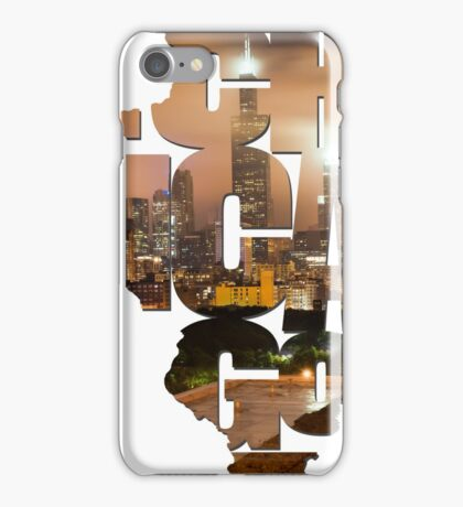 Chicago Illinois Typography - Chicago Skyline From The Rooftop iPhone Case/Skin