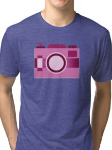 Retro Old-Time Camera, Pink Tri-blend T-Shirt
