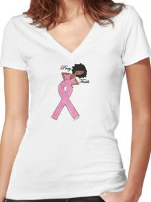 African American Breast Cancer T-shirts Women's Fitted V-Neck T-Shirt