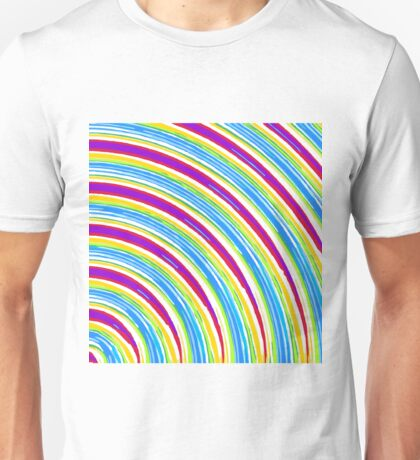 blue pink purple yellow green circle line pattern abstract background Unisex T-Shirt