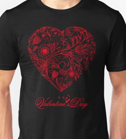 I Love you Floral Heart T-Shirt Unisex T-Shirt