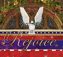 Rejoice Dove Patriotic Christmas Greeting Card by xgdesignsnyc