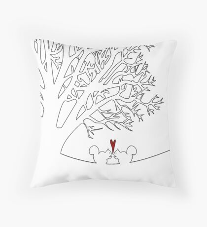 Squirrels in Love Print Throw Pillow