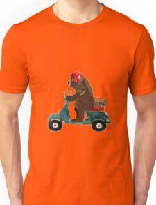 bear riding a Vespa scooter Unisex T-Shirt