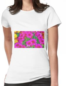 Bunch of pink and yellow flowers Womens Fitted T-Shirt