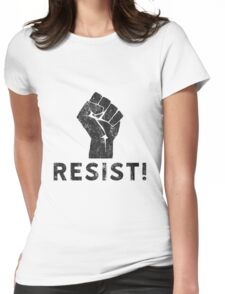 Resist Fist with Exclamation Point Womens Fitted T-Shirt