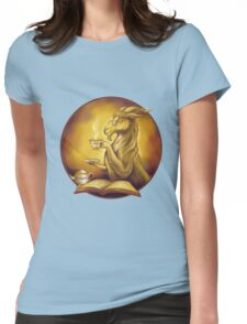 goat reading a book and drinking tea Womens Fitted T-Shirt