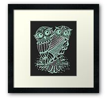 Owls – Silver & Mint on Charcoal Framed Print