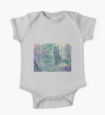 Forest In Shades of Blue Oil Pastel Art One Piece - Short Sleeve