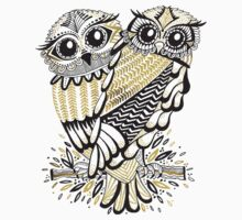 Owls – Black & Gold on Cream T-Shirt