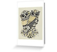 Owls – Black & Gold on Cream Greeting Card