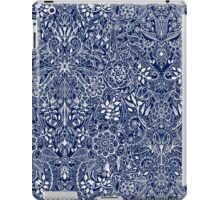 Detailed Floral Pattern in White on Navy iPad Case/Skin