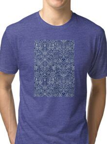 Detailed Floral Pattern in White on Navy Tri-blend T-Shirt