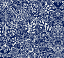 Detailed Floral Pattern in White on Navy Sticker