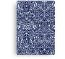 Detailed Floral Pattern in White on Navy Canvas Print