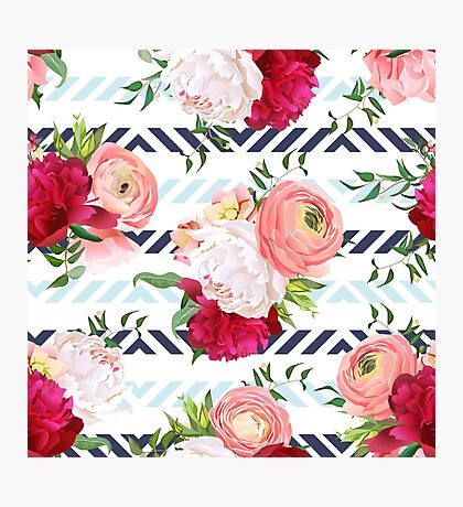 Burgundy red and white peonies, ranunculus, rose seamless vector pattern. Blue triangle striped elegant print with luxury bright flowers. Photographic Print