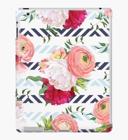 Burgundy red and white peonies, ranunculus, rose seamless vector pattern. Blue triangle striped elegant print with luxury bright flowers. iPad Case/Skin