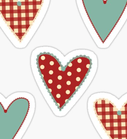 Country Heart Sticker Set Teal & Red Sticker