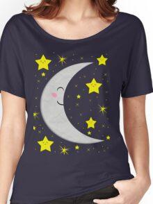Sleeping Paper Moon + Stars Women's Relaxed Fit T-Shirt