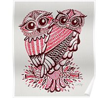Owls – Maroon & Pink Poster
