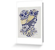 Owls – Navy & Gold Greeting Card