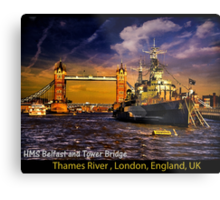 HMS Belfast and Tower Bridge  Metal Print