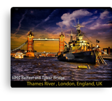 HMS Belfast and Tower Bridge  Canvas Print