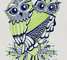 Owls – Chartreuse & Navy by Cat Coquillette