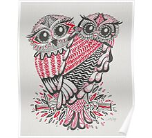 Owls – Pink & Grey Poster