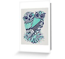Owls – Turquoise & Navy Greeting Card