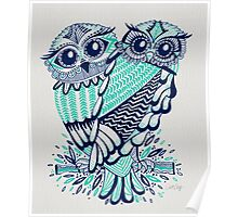 Owls – Turquoise & Navy Poster