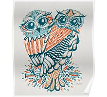 Owls – Teal & Orange Poster