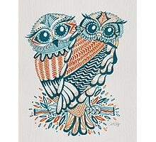 Owls – Teal & Orange Photographic Print
