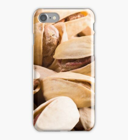 Group of salted pistachios in a small wooden box iPhone Case/Skin