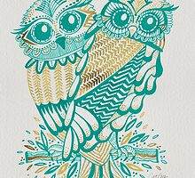 Owls – Gold & Turquoise by Cat Coquillette