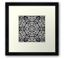 Black and White Floral Kaleidoscope Print Framed Print