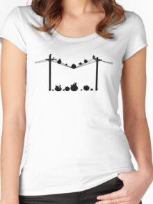 Angry Birds on a wire Women's Fitted Scoop T-Shirt