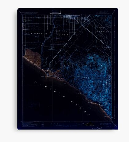 USGS TOPO Map California CA Santa Ana 298940 1901 62500 geo Inverted Canvas Print