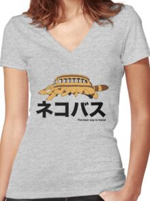 Catbus travel New Women's Fitted V-Neck T-Shirt