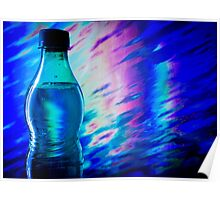 Bottle of water on abstract background Poster
