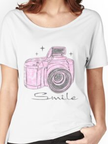 Camera Smile- womans photography shirt Women's Relaxed Fit T-Shirt