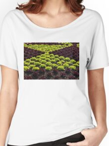 Fresh Spring Checkerboard Pattern in Lime Green and Burgundy Women's Relaxed Fit T-Shirt