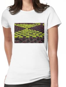 Fresh Spring Checkerboard Pattern in Lime Green and Burgundy Womens Fitted T-Shirt